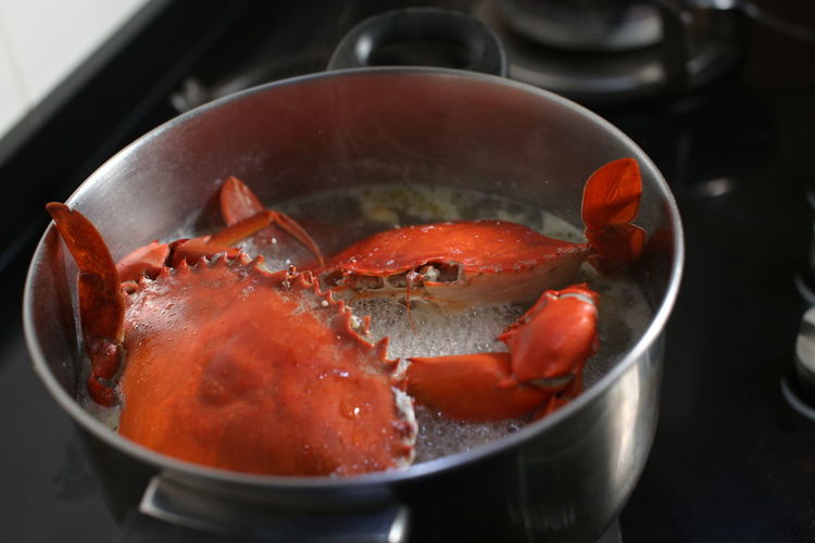 """""""Crab Soup"""", which is delicious and can be easily prepared. Food And Drink Household Equipment Food Kitchen Utensil Cooking Pan Close-up Indoors  Seafood Wellbeing No People Healthy Eating Animal Water Freshness Preparation  High Angle View Container Vegetable Focus On Foreground"""