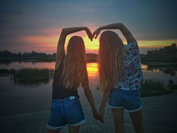 Water Love Sky Sunset Adult Women Emotion Positive Emotion Two People Young Women Young Adult Beauty In Nature Togetherness