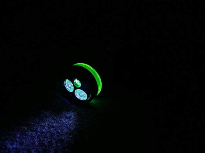 Close Up Technology Green Color Illuminated Dark Close-up No People Black Background Flashlight Greenlight