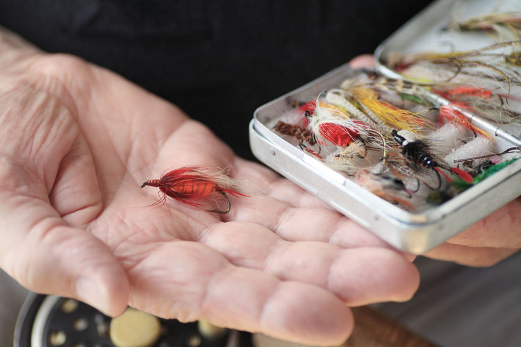Artificial fishing flies in a box and on hand Artificial Flies Assortment Box Close-up Collection Colorful DIY Feathers Fingers Fish Hooks Fisherman Fishing Flies Hand Hands Hobby Holding Man Natural Light Open Palm Palm Of Hand Red