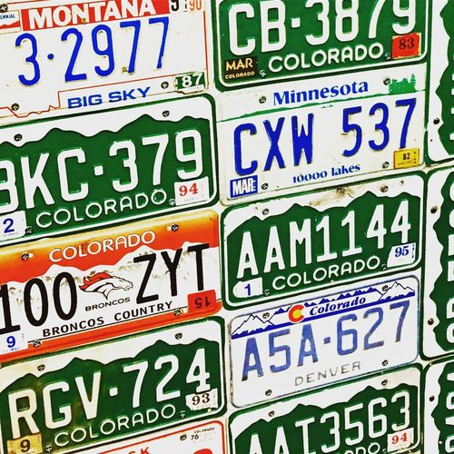 Licenseplate Licenseplates License Plate Licence Plate License Plates Colorado Vintage Vintage License Plates No People Multiple