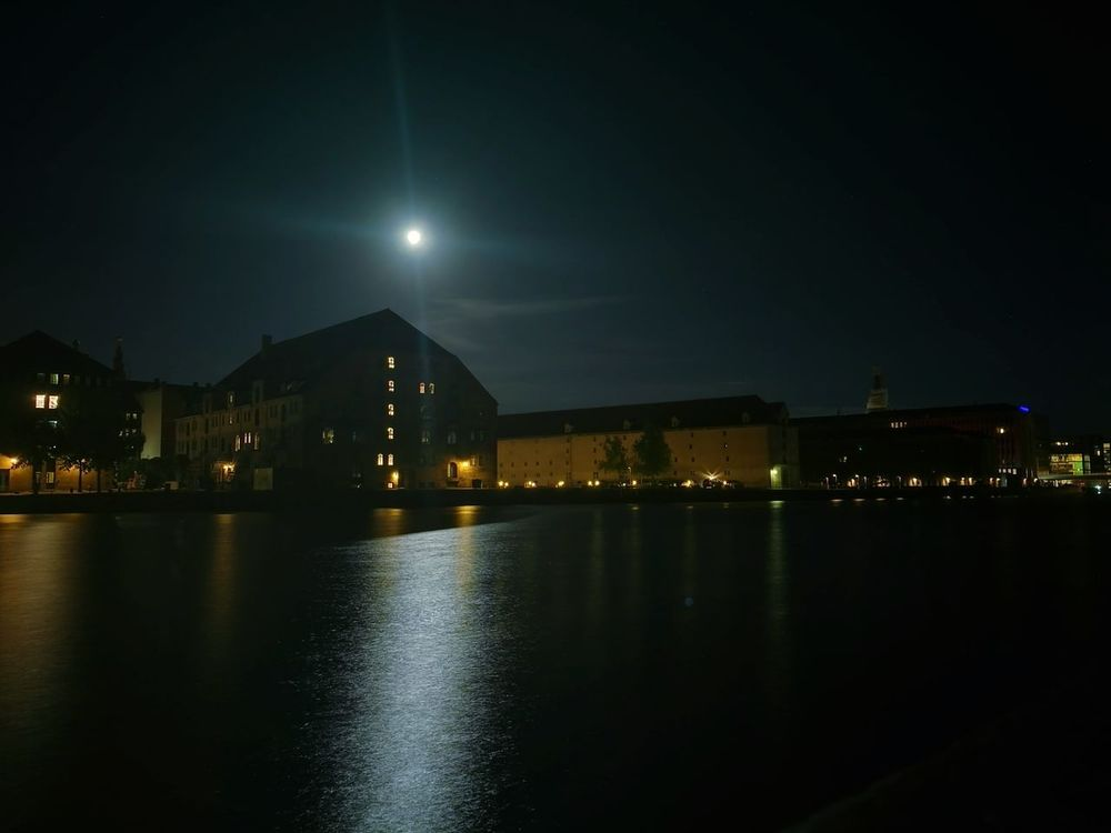Night Illuminated Reflection City Water Cityscape No People Moon Architecture Outdoors Sky Building Exterior Nightlife Star - Space Urban Skyline Nature Copenhagen Habour Cityscape Denmark 🇩🇰 Reflection City Moon