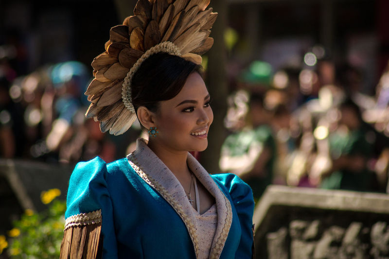 Panagbenga 2016 - Native Floral Hat Baguio Blue Dress Culture Fancy Hat Festival Focus On Foreground Girl Hat Head And Shoulders Headshot Individuality Lifestyles Native Dress Panagbenga Parade Person Philippines Portrait Real People Waist Up