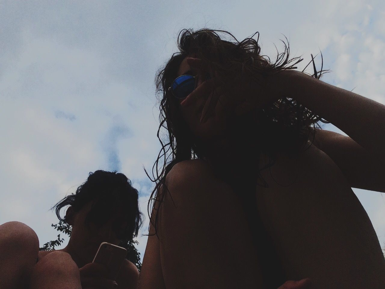real people, togetherness, leisure activity, lifestyles, long hair, sky, friendship, childhood, bonding, women, day, outdoors, people