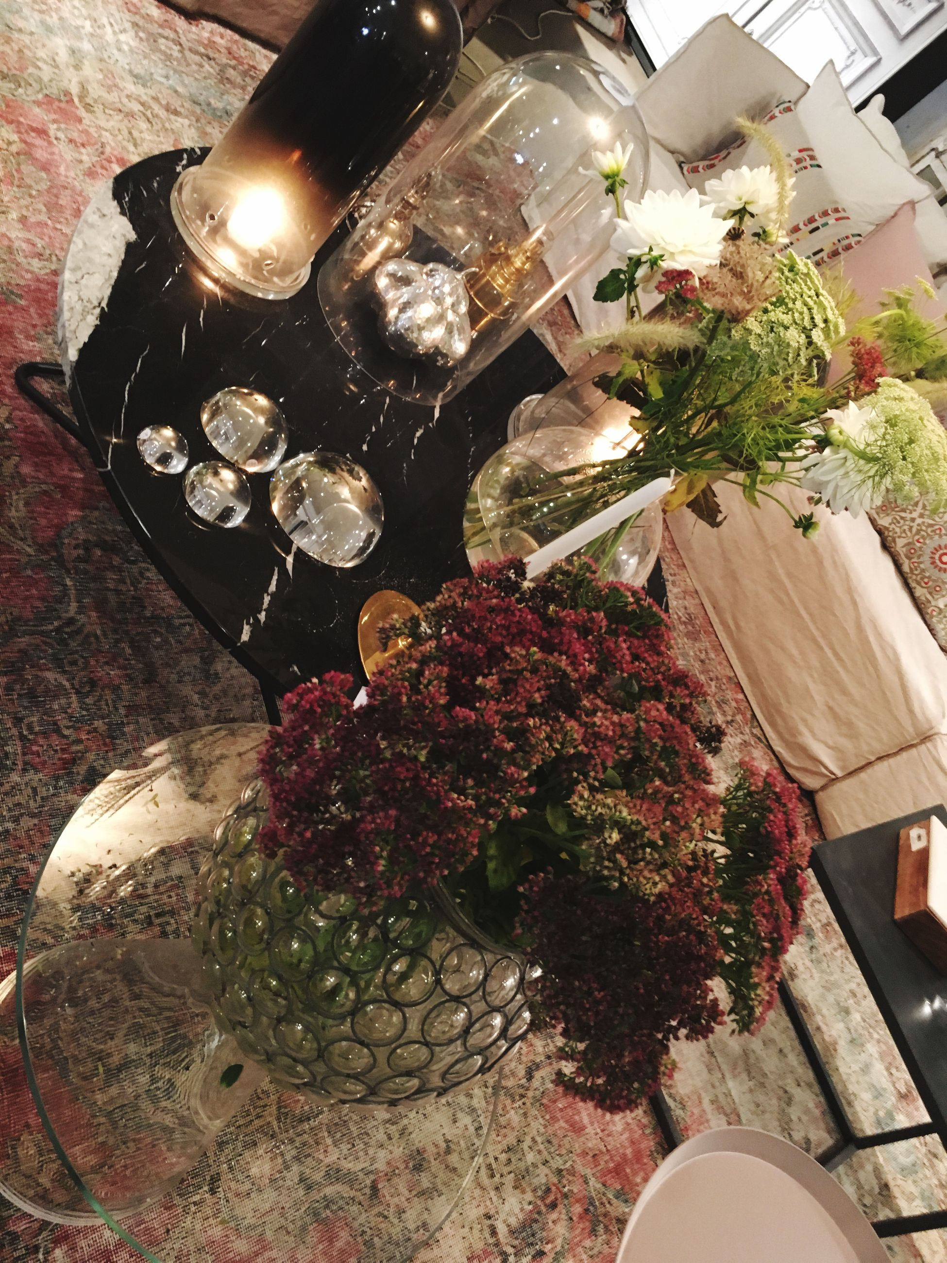 flower, high angle view, potted plant, table, indoors, freshness, decoration, plant, vase, illuminated, lighting equipment, growth, flower pot, no people, still life, christmas, night, fragility, front or back yard, chair