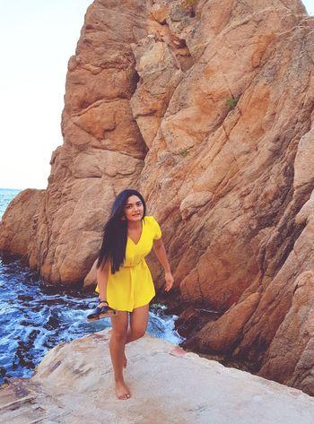 Young Women Portrait Beautiful Woman Full Length Beauty Mountain Looking At Camera Fashion Model Sand Desert