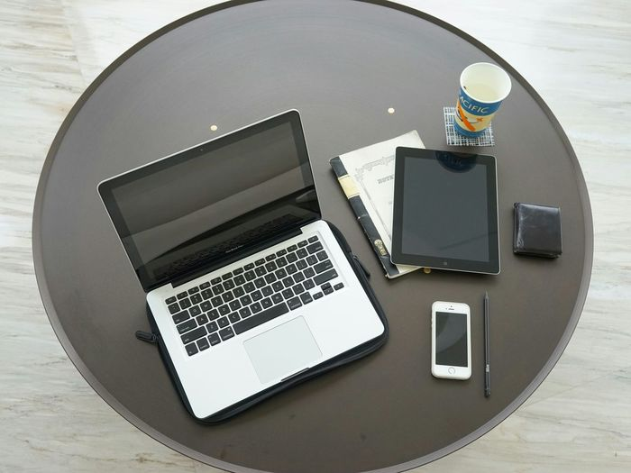 Working Work Gadgets Tech Integrity Minimalist Furniture MacBook Pro Ipad4 Iphone5s Notebook Work From Home Tech Life Apple Products Classic Vs Modern Pencil Grey Interior Round Table Marble Floor Men's Toys Workdesk Minimalist Interior
