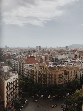 Barcelona Sagrada Familia Building Exterior Architecture City Built Structure Sky Building Cloud - Sky Cityscape Residential District Crowd Crowded City Life Outdoors High Angle View Nature Settlement Day Tree Plant Street