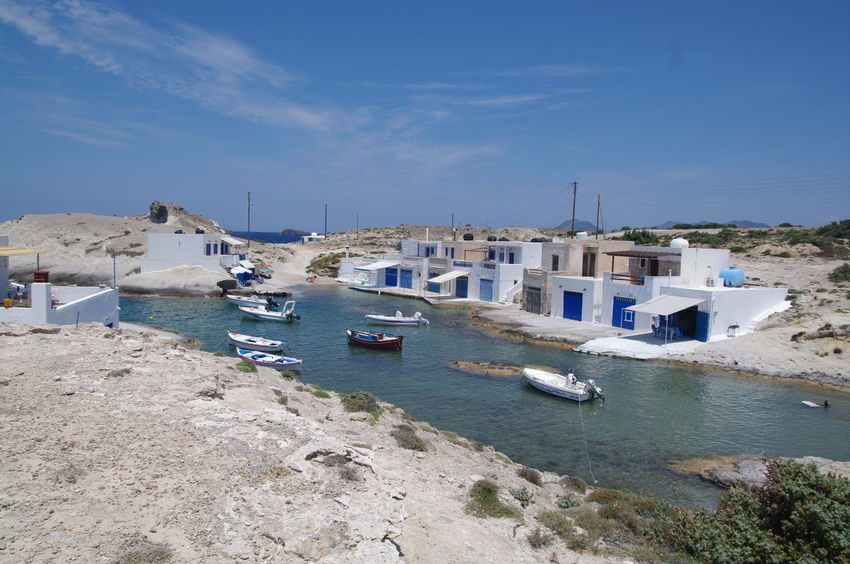 Griechenland Milos Island Architecture Blue Building Exterior Built Structure Fischerhäuser Greece Harbor High Angle View Milos Mode Of Transport Moored Nature Nautical Vessel No People Outdoors Sailboat Sea Sunlight Transportation Water Yacht