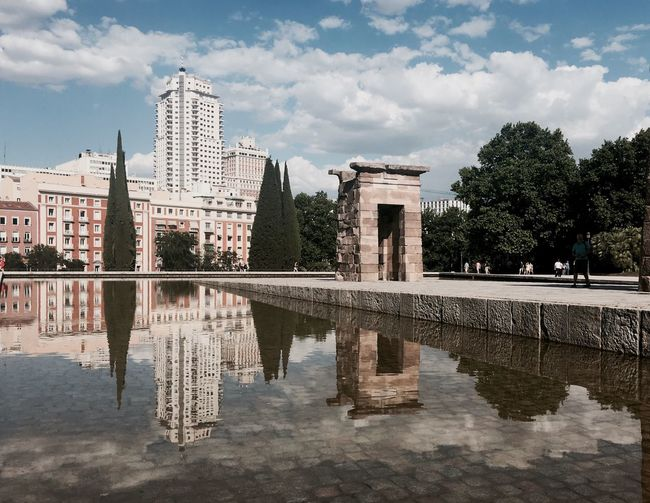 The Great Outdoors - 2017 EyeEm Awards Madrid Architecture Streetphotography Temple Debod Debod's Temple Cloud - Sky Water Building Exterior Reflection Outdoors Day Travel Destinations Sky IPhone Street Photography - EyeEm Awards 2016
