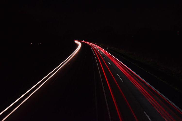 Highway at night Speed Light Trail Transportation Motion Illuminated Red Long Exposure