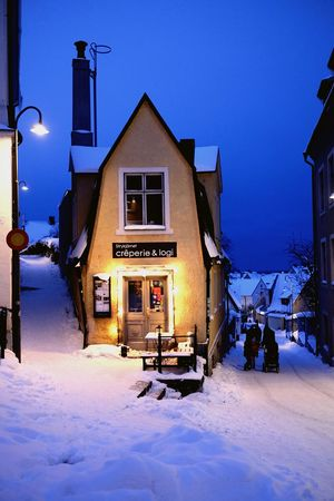 Gotland Visby winter snow town heritage blue lights