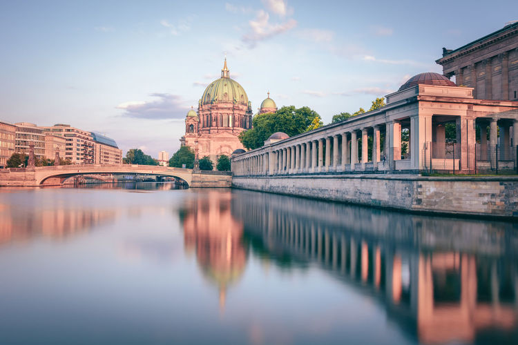 Berlin Cathedral In City By Spree River Against Sky