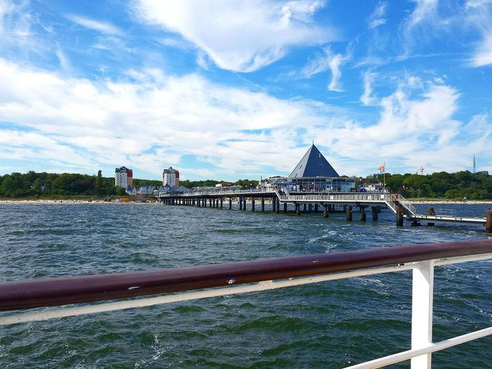 Blue Sky With Clouds Ladyphotographerofthemonth Vibrant Color From A Boat Seebrücke Heringsdorf Bäderarchitektur Pier Connection Architecture Built Structure Tranquil Scene Scenics Tranquility Outdoors Diminishing Perspective Baltic Sea Tranquility Blue Tourism Distant Long Done That.
