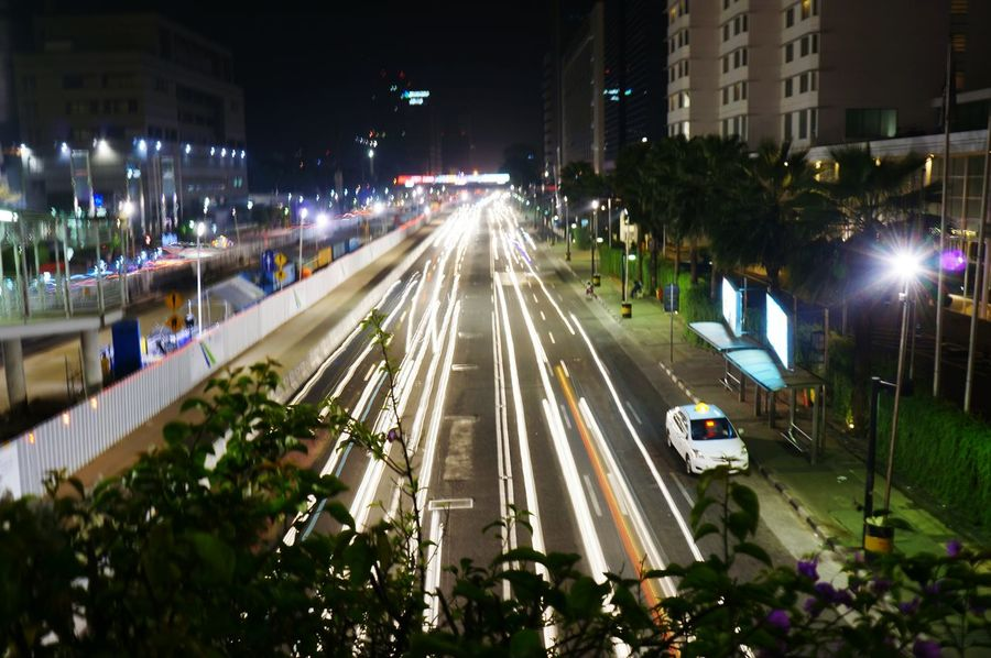 Night Illuminated Transportation City Car Traffic Street City Street High Angle View Architecture Vehicle Light Road Built Structure Light Trail City Life Building Exterior Street Light Outdoors No People Cityscape