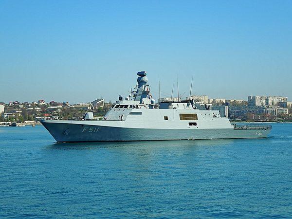 The Turkish navy corvette