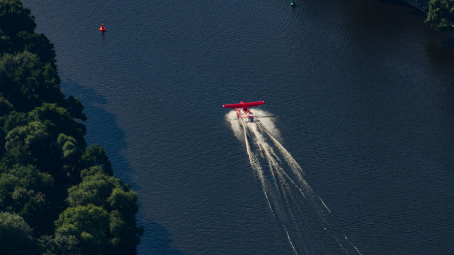 High Angle View Of Airplane On River