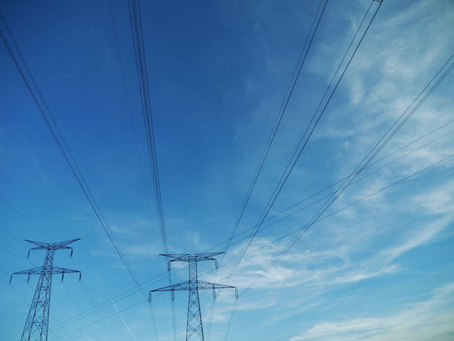 Cable Cloud - Sky Connection Day Electricity  Electricity Pylon Electricity Tower Fuel And Power Generation Low Angle View Nature No People Outdoors Power Line  Power Supply Sky Technology Telephone Line