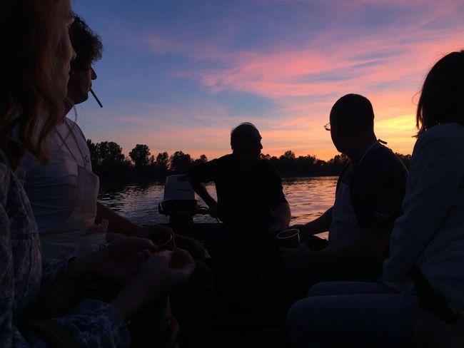 """Sunset rhapsody"", Slavonski Brod, Croatia, 2017. Croatia Slavonski Brod Boat Boat Ride Sunset Water Sitting Togetherness Leisure Activity Silhouette Friendship Lifestyles Medium Group Of People Beauty In Nature"