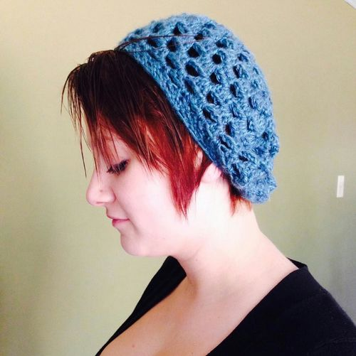 anakate wearing glacier bay beret Crochet Beret Glacier Bay Rachel In Stithes