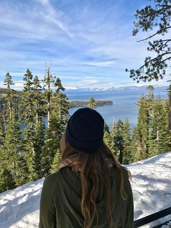 Women Around The World Tree Beauty In Nature Rear View Real People Nature Scenics Leisure Activity Lifestyles Winter One Person Sky Warm Clothing Cold Temperature Day Outdoors Standing Women Young Adult Vacations Snow Roadtrip