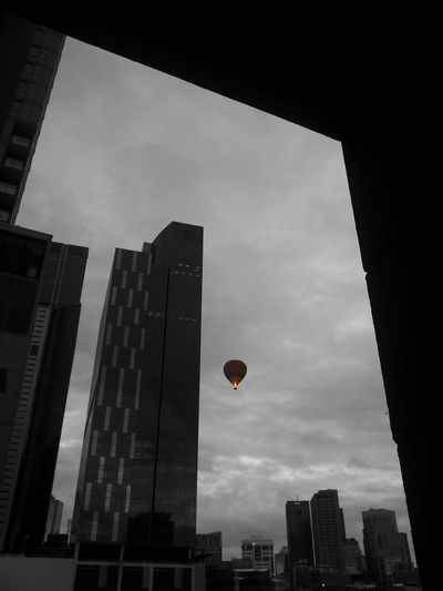 Sometimes how lucky to be in the right place at the right time with a camera!! This one was taken today early morning from my window.(color splash series -11)Balloon Black And White Photography From My Window Dark Photography