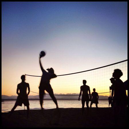 Volleyball. Seattle, Washington. Sunset Volleyball Sports Beach