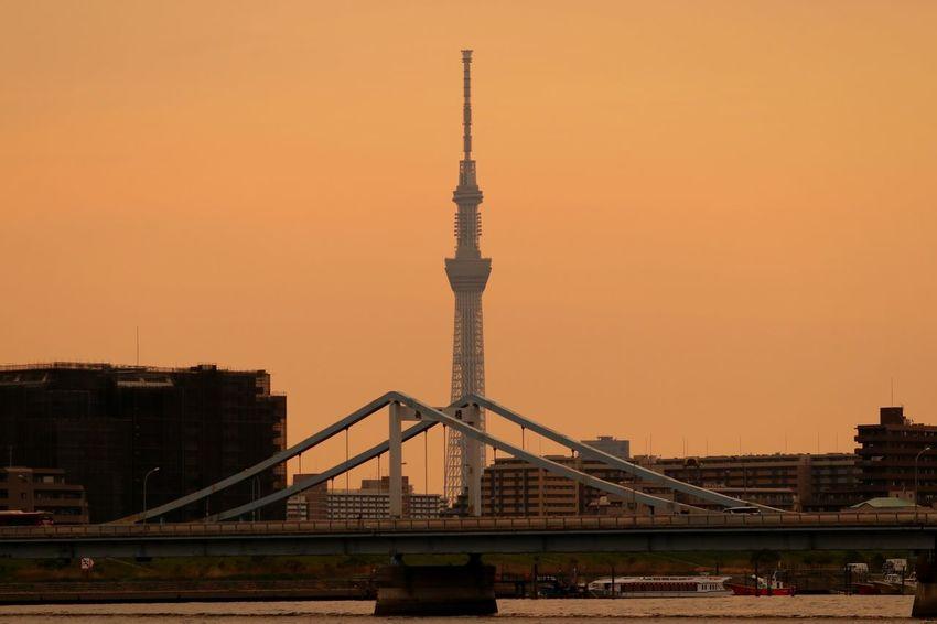 Tower Cityscape Tokyo Japan Tokyoskytree Skytree River Orangesky Sunset Sunsets Bridge