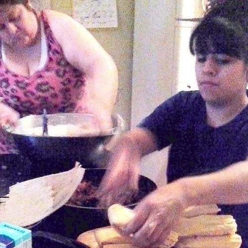 Ahh shit ha jk Did except the picture. Mi ama y yo hacendo tamales Seriousface SundayFunday Tamales Familynight