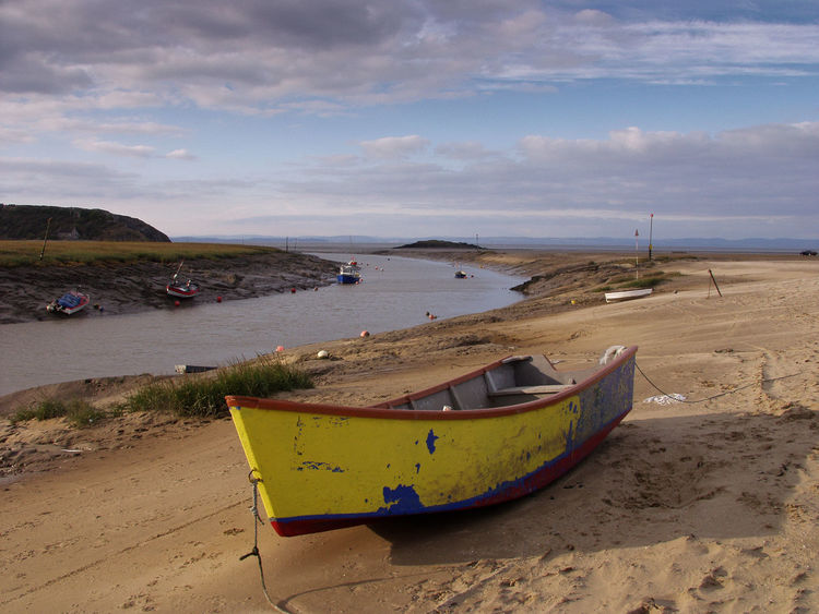 Beach Boat Cloud - Sky Day England Horizon Over Water Mode Of Transport Moored Nature Nautical Vessel No People Outdoors River River Axe Sand Scenics Sea Sky Somerset Tranquil Scene Tranquility Transportation UphillVillage Water Yellow