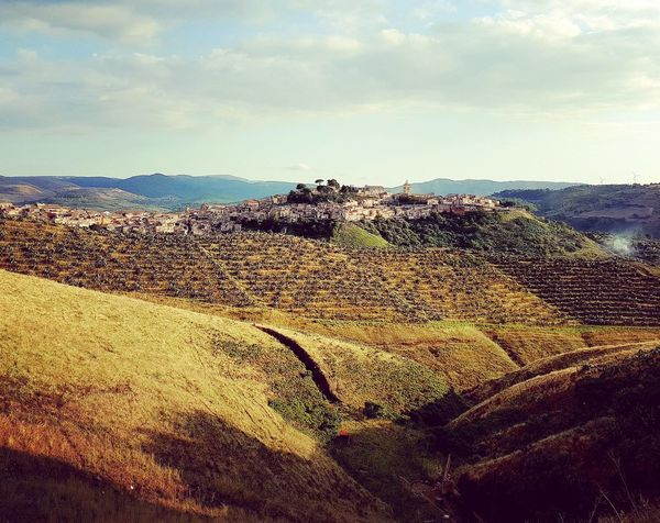 Don Corleone Hiking Italia Land Sicily Vacations Agriculture Beauty In Nature Cloud - Sky Countryside Environment Hill Idyllic Italy Land Landscape Mountain Mountain Range Non-urban Scene Outdoors Plant Rural Scene Scenics - Nature Town Tranquility Village