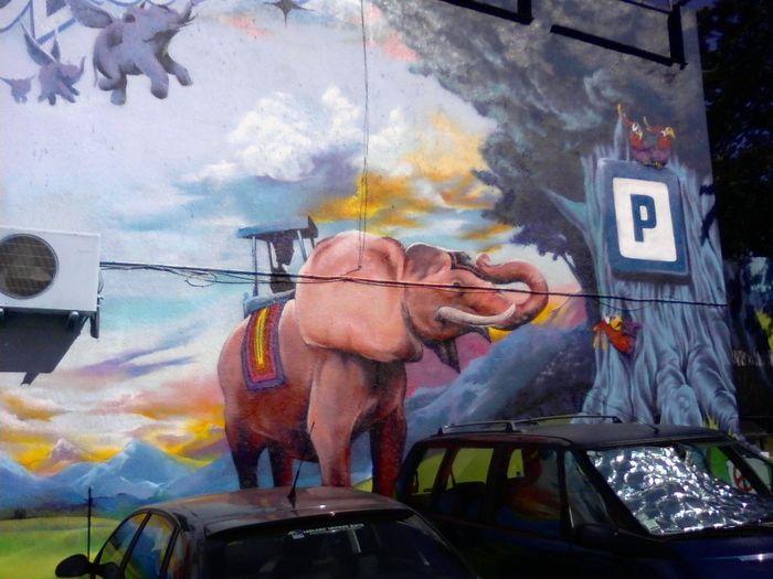France Cartoon Elephant Parking Car Car Parking Elephant Flying Elephants Mural Art Murales Parking Lot Art Spray Paint