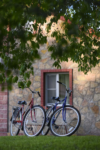 Two bicycles Active Activity Bicycle Bike Bikes Cycling Land Vehicle Leisure Activity Mode Of Transportation Riding Transportation