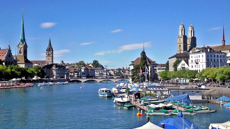View to Fraumünster,St.Peter and Grossmünster Architecture Boat Capital Cities  Churches City Famous Place Limmat Limmatquai Mode Of Transport Outdoors River Sky Tourism Travel Destinations