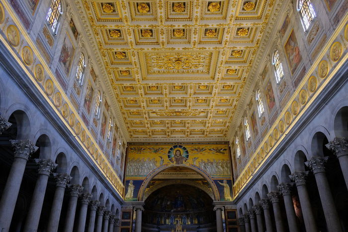 Rome, Italy - August 12, 2017: Interior of the Papal Basilica of St. Paul outside the Walls, one of Rome's four ancient, Papal, major basilicas Basilica Di San Paolo Church Golden Mosaic Mosaics Religious Art Rome Rome Italy🇮🇹 Rome, Italy St Paul Architecture Basilica Di San Paolo Fuori Le Mura Built Structure Indoors  Interior Italy Mosaic Art Mosaico No People Religion Religious  Religious Architecture Rome Italy St Pauli