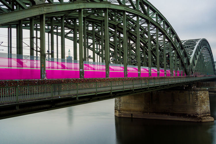 View of the Hohenzollern Bridge and a pink passing Train in Germany Cologne. Long Exposure Motion No People Reflection Rail Transportation Pink Color Waterfront River Bridge - Man Made Structure Connection Transportation Bridge Sky Girder Arch Bridge Architecture Water Built Structure Train - Vehicle Train Speed Cologne Germany Hohenzollernbridge Outdoors Hohenzollernbrücke Travel Nature Metal Day