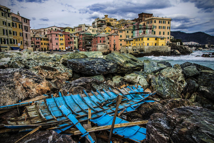Boccadasse, Genova, Italy Boat Building Buildings Cloud - Sky Clouds And Sky Colours Landscape Rock Rocks Sea Sky Village Waves Wreck