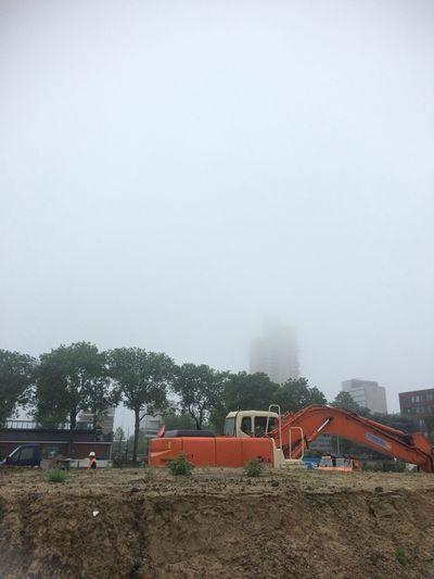 Fresh On Eyeem  Fog Foggy Morning Construction Site Construction Work