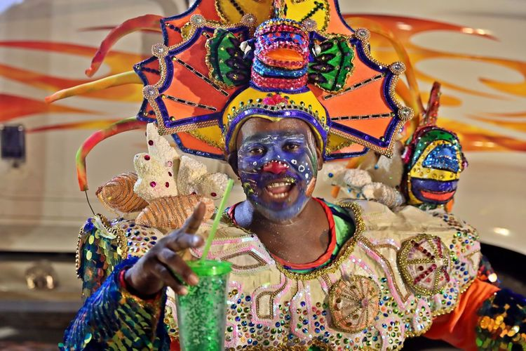 Multi Colored Front View Indoors  One Person Celebration Arts Culture And Entertainment Portrait Creativity Costume Headwear Traditional Clothing Festival Carnival Caribbean Carnival Karnaval Curacao 2019 Karnaval Curacao