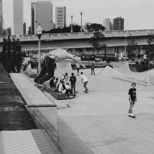 Blackandwhite Chicago Grantpark Grind Quarterpipe Skate Skateboarding Skatepark SkatePlaza