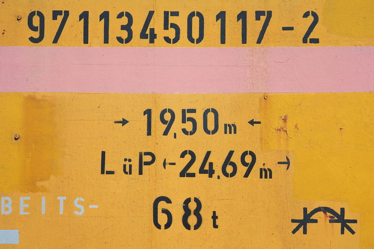 Close-up of text on yellow wall