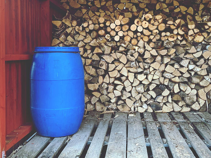 Stack of wooden logs in forest