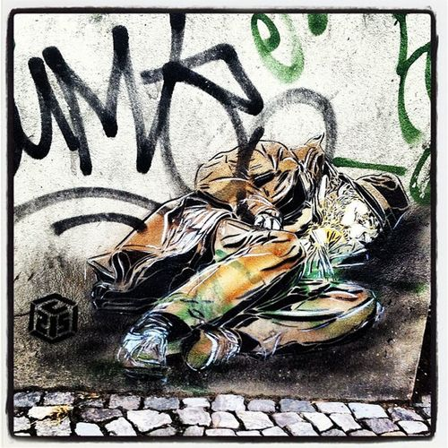 #c215 #drunk #man #paperbag #paper #bag #graffiti #art #urban #urbanart #stencil #artist #cobblestone #sidewalk #germany #berlin #berlinphotos #kreuzberg Drunk Sidewalk Berlinphotos Bag Paperbag Paper 35likes Artist Kreuzberg Man Booze UrbanART Stencil Berlin Blackout Graffiti Cobblestone Urban C215 Art Clarks Germany Coat Beard