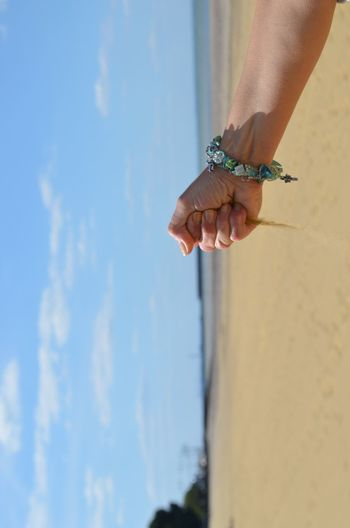 Sand In The Hand Hand Skin Pin Quriosity Human Hand Beach Summer Sky Close-up Calm Sand