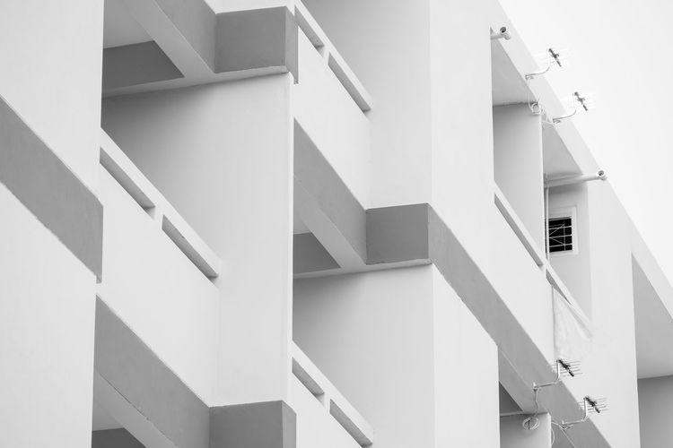 Architecture Built Structure Building Exterior Building No People Low Angle View Staircase Day Steps And Staircases Railing Residential District Nature White Color Outdoors Window City Sunlight House Pattern Roof Apartment