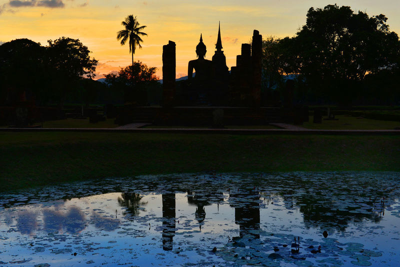 Buddha statue in sunset time. Sukhothai Historical Park, Sukhothai, Thailand. Sukhothai Historical Park Sukhothai, Thailand Architecture Building Exterior Built Structure Day Nature No People Outdoors Puddle Reflection Silhouette Sky Sukhothai Sunset Tree Water