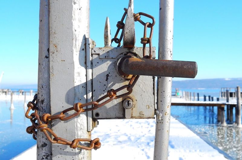 Lock Safety Padlock Metal Water Outdoors Close-up Connection Locked Up Pier Lake View