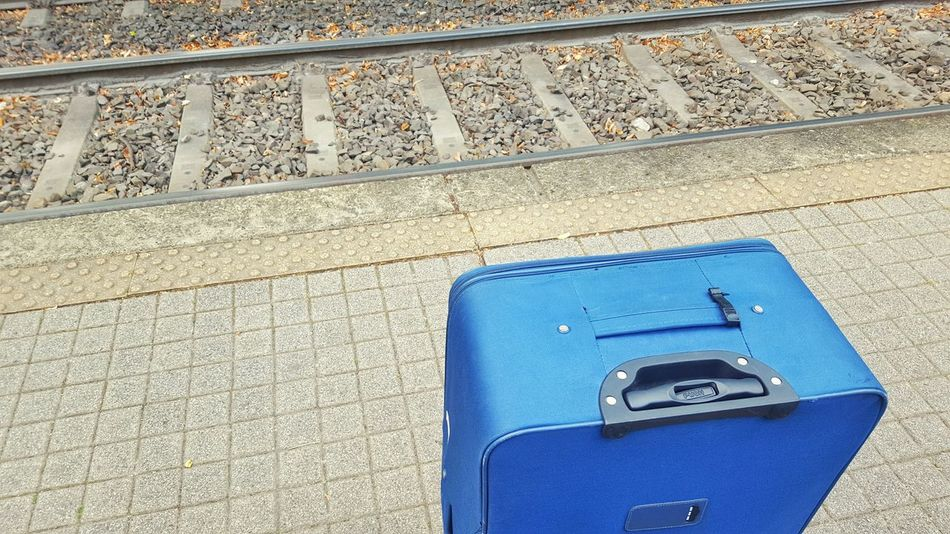 Bag Baggage Blue Travel Travelling Train Station Public Transportation Railroad Track Public Transport Subway Station Transportation City Life Waiting Late