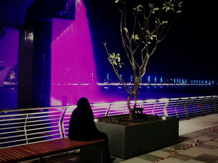 """""""you spend time on land, you live life on water"""" Night One Person One Woman Only Only Women Tree Nature Water Reflection Canal Tour Watercanal Dubaiwatercanal Dubai❤ Lifeinthewater"""