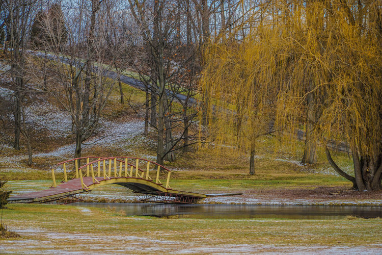 Footbridge over river at park